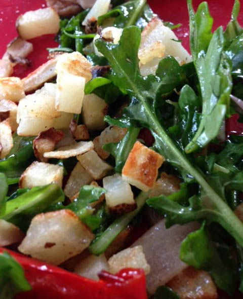 Super Summer Chicken, Red Pepper, Arugula Salad with Roasted Potatoes