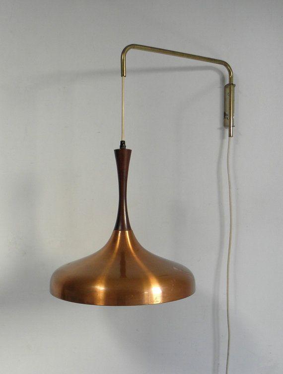 mid century danish modern rosewood copper hanging pendant lamp fog mo. Black Bedroom Furniture Sets. Home Design Ideas