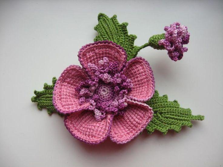 Crochet A Flower Brooch Pattern : crochet flower brooch Crochet headbands and flowers ...