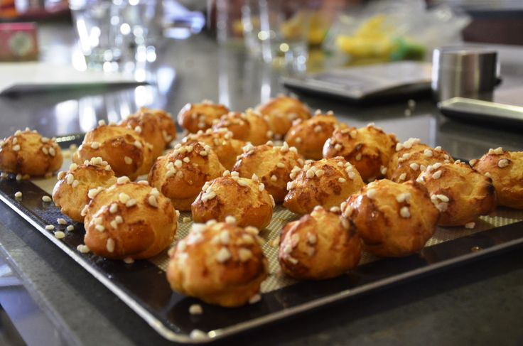 Chouquettes with pearl sugar sprinkles