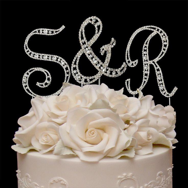 Small Vintage Elegance Crystal Letters Wedding Cake Topper