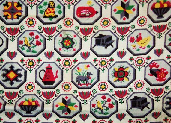 Barkcloth Kitchen Curtains & Fabric Table Runner Markwood Vat Mid Cen ...