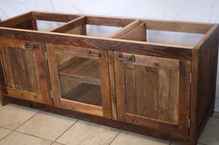 Your custom made rustic barn wood double vanity cabinet - Custom wood bathroom cabinets ...