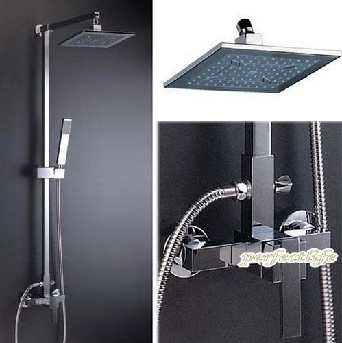 Bathroom Luxury Chrome Rain Shower Head Arm Set Faucet With Handy Uni