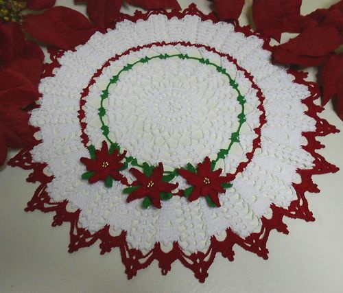 Free Crochet Pattern Christmas Doily : Gorgeous hand crocheted Christmas Doily Christmas ...