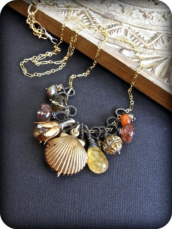 Manipura - sterling silver, wire wrapped, oxidised, goldfill, vintage crystal, and mixed gemstone necklace