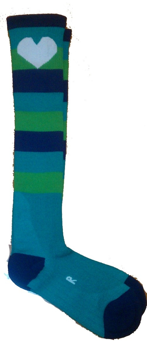 Blue and green striped compression socks from Runningskirts.com