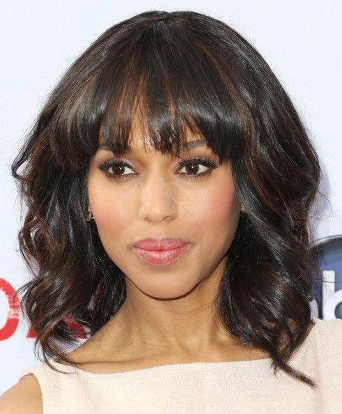 Hair Style Joda : More Pics of Kerry Washington Medium Wavy Cut with Bangs