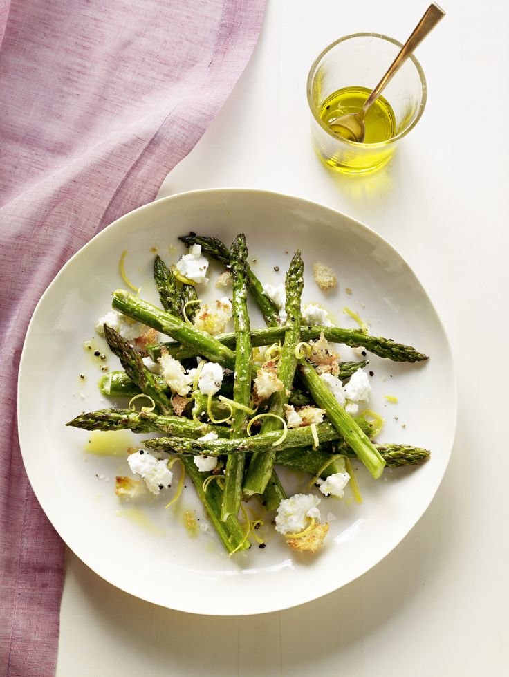 Roasted Asparagus Salad with Goat Cheese and Bread Crumbs
