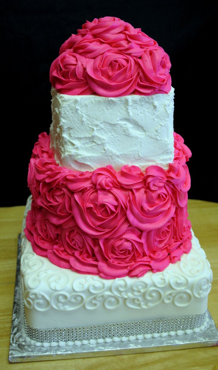Hot Pink Cake Images : #hot pink rosette wedding cake Custom Cakes Pinterest