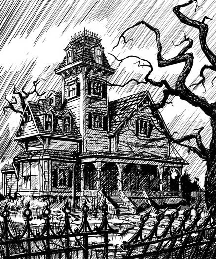 Pin by yoddha victorious on tattoos piercings pinterest Haunted house drawing ideas