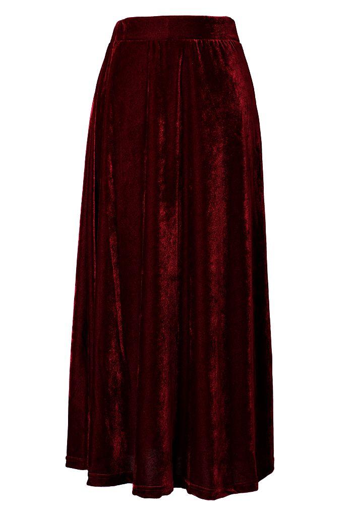 velvet pleated maxi skirt style s