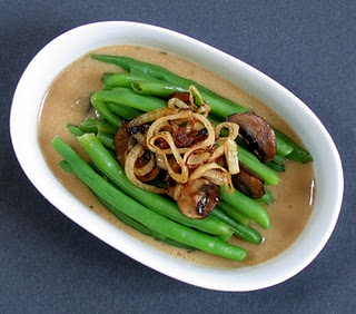 Deconstructed Green Bean Casserole. The mushroom gravy especially is ...