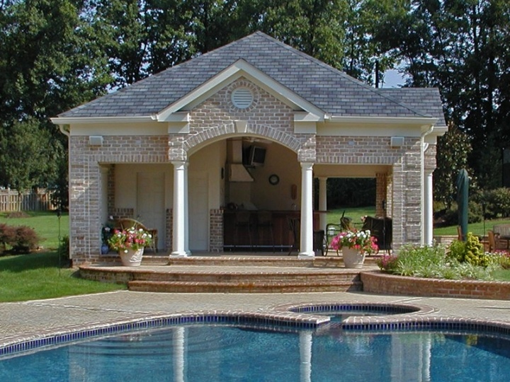 Pool cabana home pool patio pinterest for Swimming pool cabanas