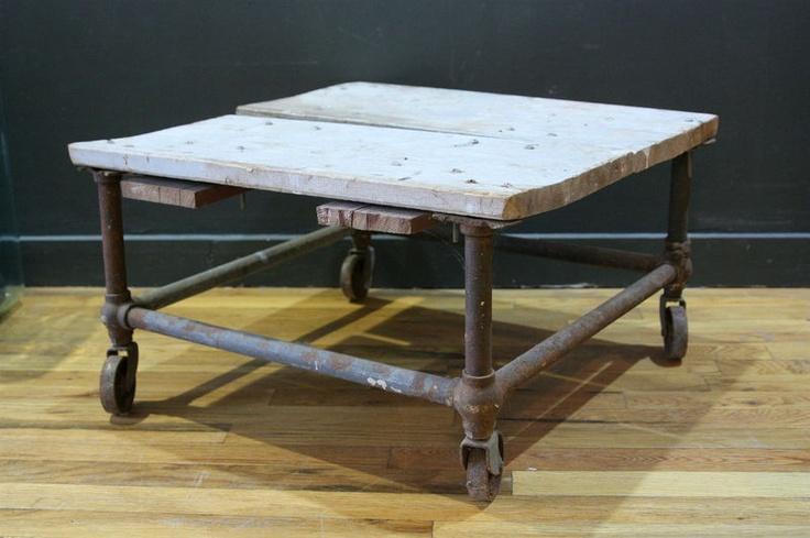 Vtg 1940s Industrial Steel Pipe Base Coffee Table w ...