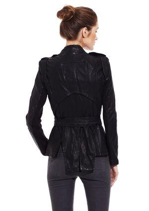 GRACIA Tie Faux Leather Jacket | Coat Collection | Pinterest