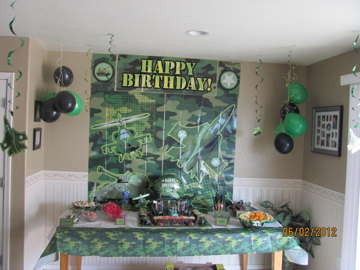 Army theme party for party decorations pinterest for Army party decoration ideas