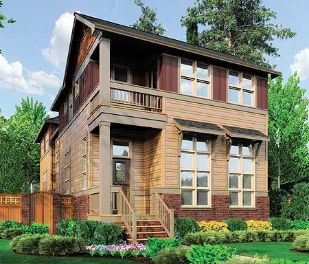 Unique 2 story narrow lot plan for Narrow house plans with attached garage