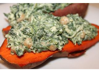 ... After: Baked Sweet Potatoes with Spinach & Chickpeas {Healthy Recipe