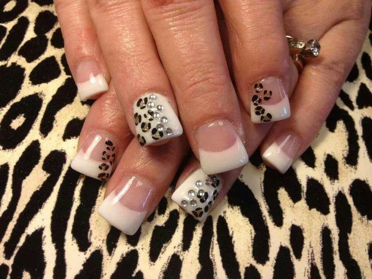 Leopard rhinestone french tip nails