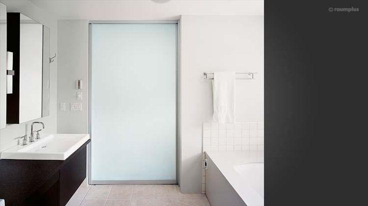 Pocket Door Bathroom Design : Bathroom with frosted glass pocket door design