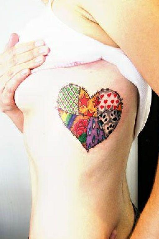 patchwork heart tattoo future tats pinterest. Black Bedroom Furniture Sets. Home Design Ideas