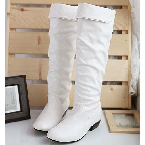 new white pu leather flat knee high boots us sz 5 9