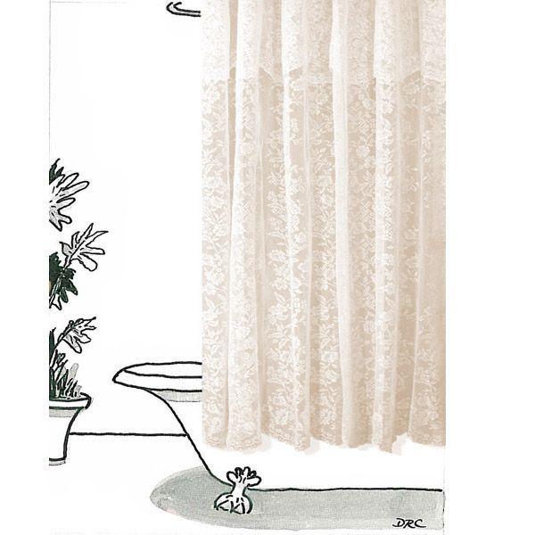romance lace beige floral fabric shower curtain