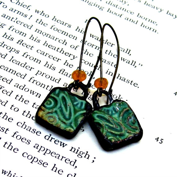 Green Abstract Ceramic Dangle Earrings by JeraLunaDesigns on Etsy, $25.00
