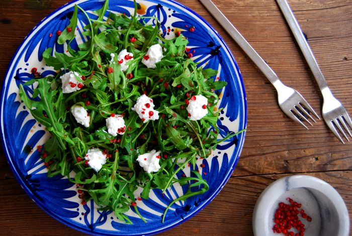 Rucola Salad with Goat Cheese, Honey Dressing and Pink Peppercorns