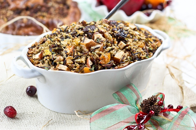 ... and Wild Rice Turkey Stuffing with Chestnuts and Dried Fruits
