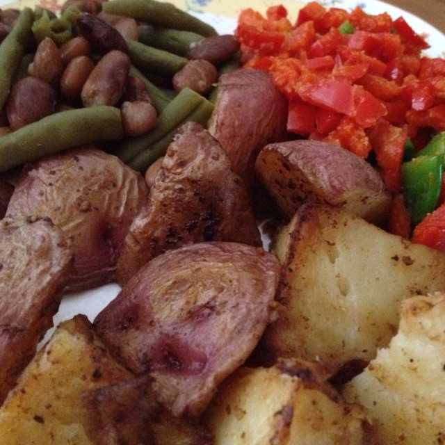! 'fried' potato wedges, green beans with beans, & medley of stir...
