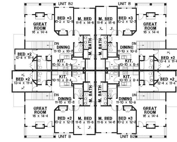 8 unit house plan with corner decks for Breakfast nook building plans