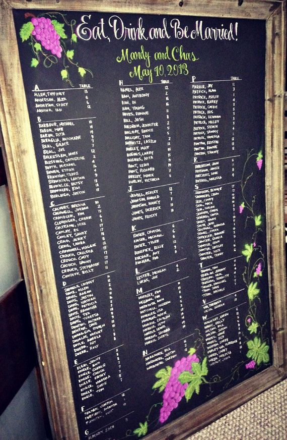 Hand Drawn, Calligraphy Wedding Reception Chalkboard Seating Charts