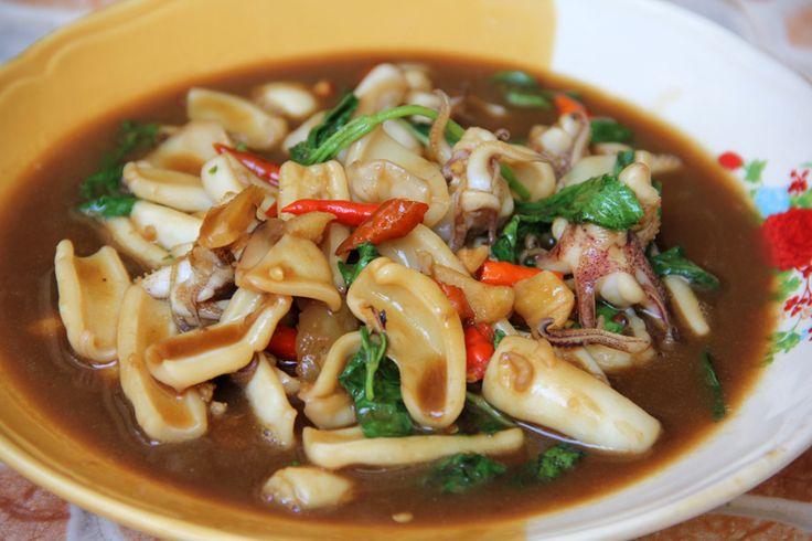 Thai squid with holy basil | Food: Thai | Pinterest
