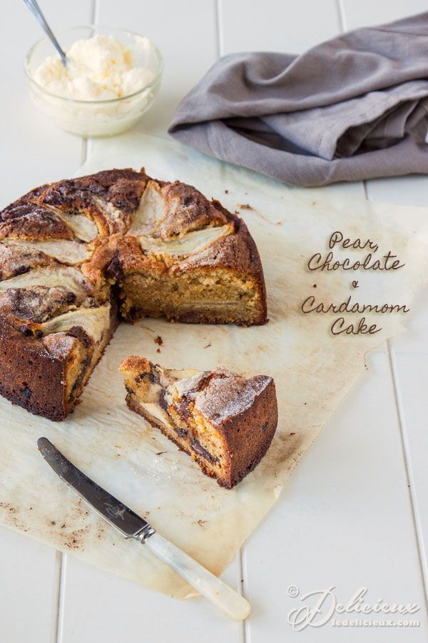 Pear Chocolate and Cardamom Cake recipe | @Delicieux #glutenfree