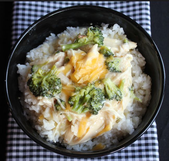 Creamy Chicken, Broccoli and Cheddar over Rice (Crock Pot)