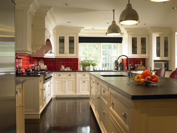 red tile backsplash kitchens pinterest