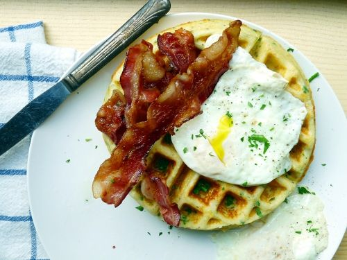 Savoury Cheddar Chive Waffles - serve with eggs and bacon or sour ...