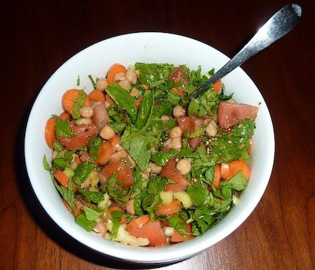 Recipe for moroccan carrot and chickpea salad.