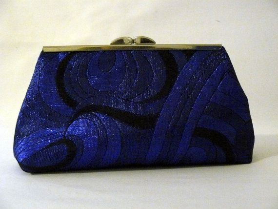 Royal Blue and Black Clutch purse on Etsy, 25.00