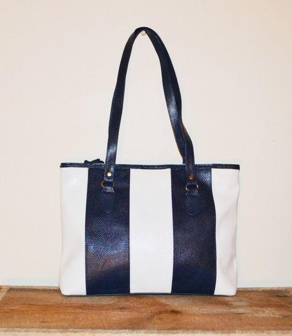 Vintage Purse Navy Blue and White Handbag 80s by founditinatlanta, 45 ...