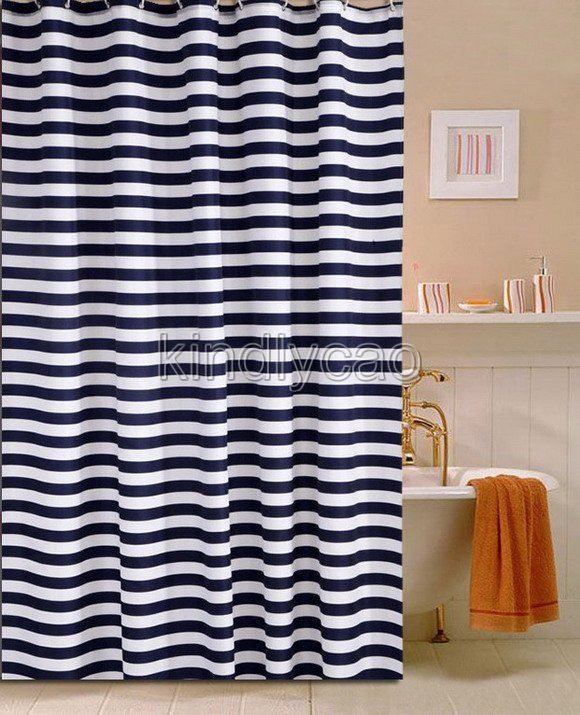 Simple navy blue stripe picture bathroom fabric shower curtain ks820