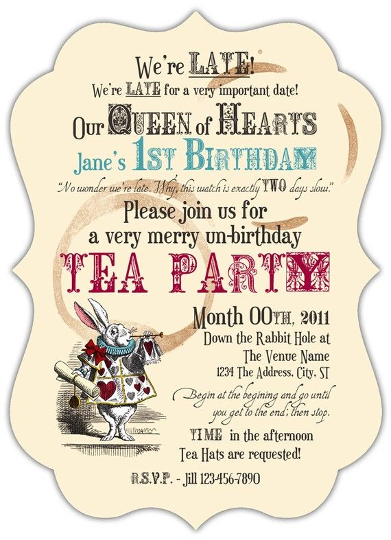 free alice tea wonderland party invite