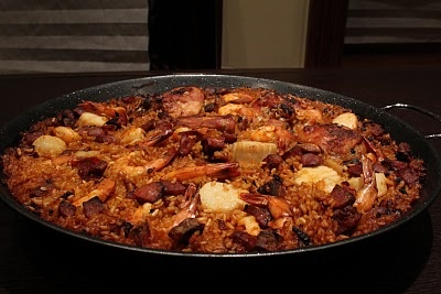 Spanish Paella with Shrimp, Scallops, Chicken and Sausage