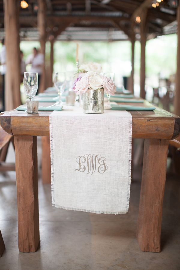 Southern wedding - monogrammed table runners
