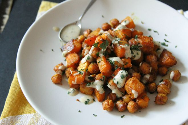 Curried Roasted Squash and Chickpeas with Tahini Sauce | Lattes ...