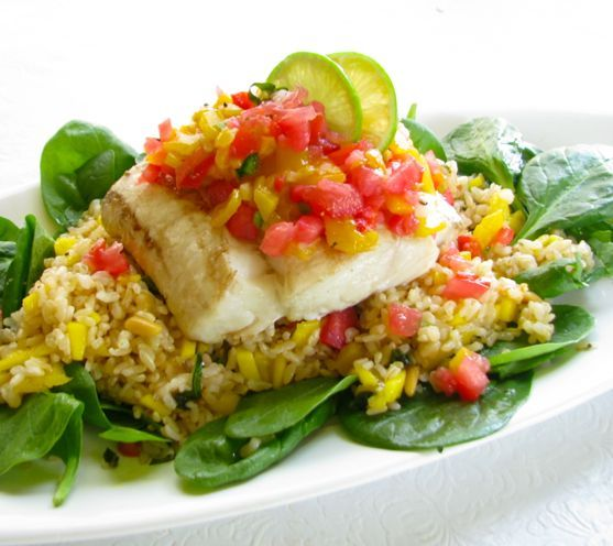 Halibut w/ Tomato and Mango Salsa | LIVE to EAT | Pinterest