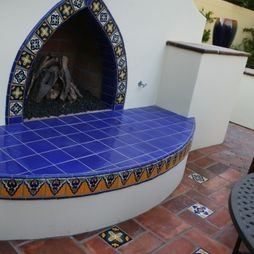 Mexican Tile Design Outdoor Fireplace House Stuff Pinterest