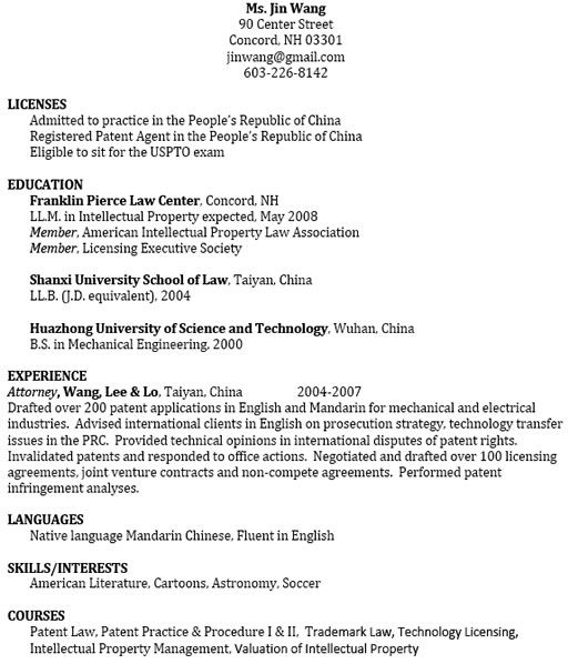 resume bar admissions